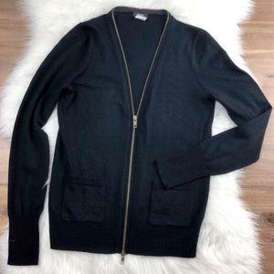 J. Crew Merino Wool Extended Zipper Cardigan